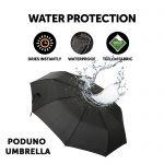 Poduno black windproof umbrella