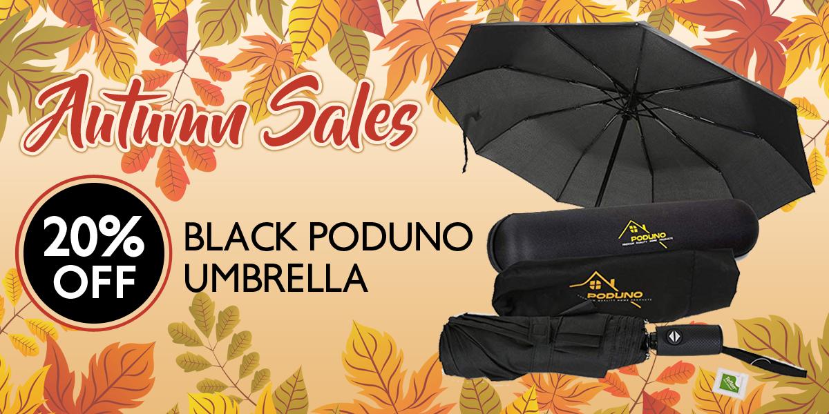 Poduno Black Rain Umbrella discount